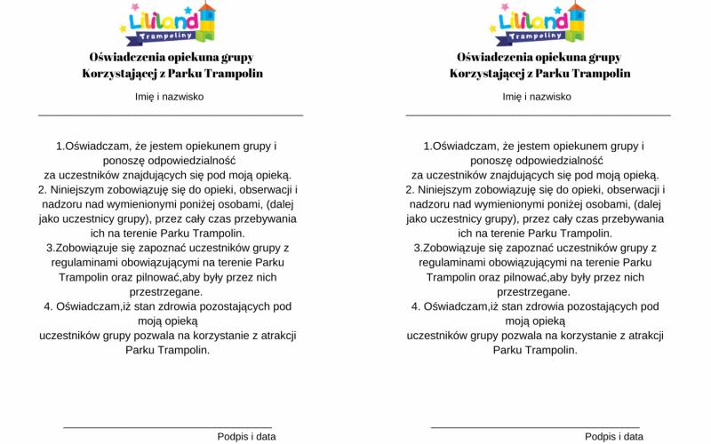 Zgoda dla Opiekuna Grupy do Parku Trampolin